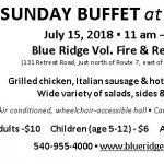 SUNDAY BUFFET at BLUE RIDGE ~ July 15th 11am-2pm